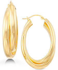 Signature Gold Oval Twist Hoop Earrings in 14k Gold over Resin, Created for Macy's