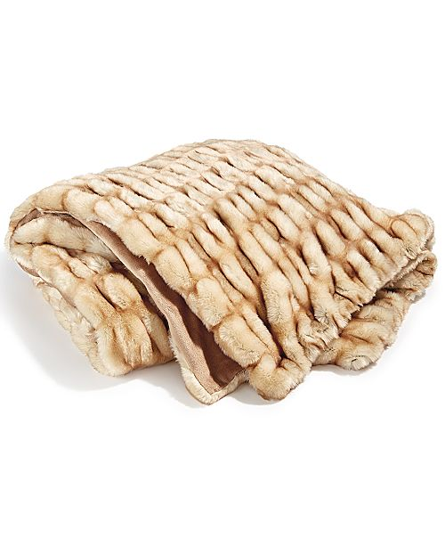 Hotel Collection CLOSEOUT! Carved Faux-Fur Throw, Created for Macy's