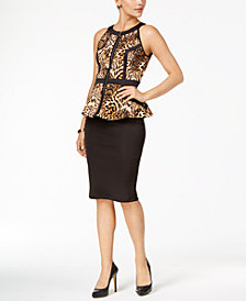 Thalia Sodi Printed Peplum Top & Scuba Pencil Skirt, Created for Macy's