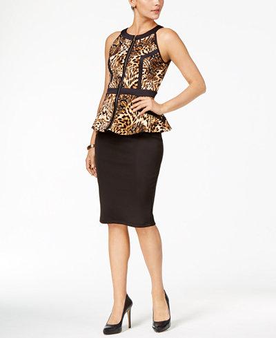 Thalia Sodi Printed Peplum Top & Scuba Pencil Skirt, Created for Macy's