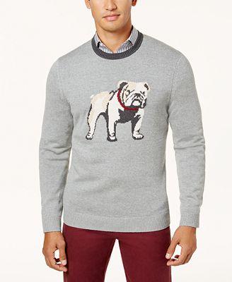 Club Room Mens Intarsia Bulldog Sweater Created For Macys