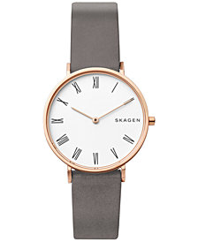 Skagen Women's Hald Gray Leather Strap Watch 34mm