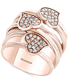 Pavé Rose by EFFY® Diamond Heart Wrap-Style Ring (5/8 ct. t.w.) in 14k Rose Gold