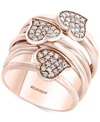 Pavé Rose by EFFY Diamond Heart Wrap Style Ring 5 8 ct t w in