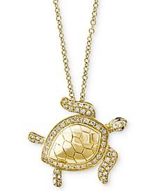 Seaside by EFFY® Diamond Turtle Pendant Necklace (1/4 ct. t.w.) in 14k Gold