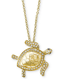 Seaside by EFFY® Diamond Turtle Pendant Necklace (1/4 ct. t.w.) in 14k Gold