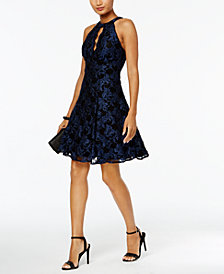Nightway Glitter-Lace Keyhole Halter Dress
