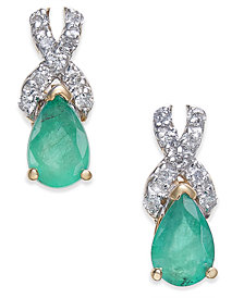 Emerald (3/4 ct. t.w.) & Diamond (1/8 ct. t.w.) Drop Earrings in 14k Gold