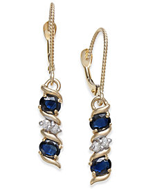 Sapphire (1-1/5 ct. t.w.) & Diamond Accent Drop Earrings in 14k Gold