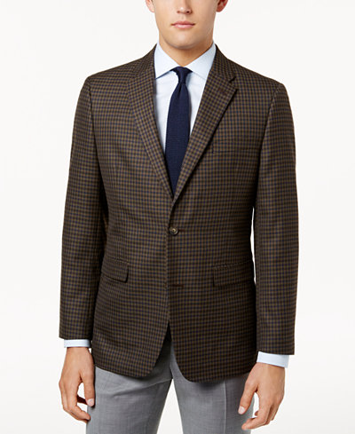 Tommy Hilfiger Men's Slim-Fit Brown Check Sport Coat - Blazers ...