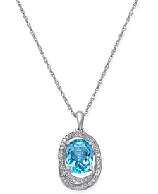 Blue Topaz (1-5/8 ct. t.w.) & Diamond (1/5 ct. t.w.) Pendant Necklace in 14k Rose Gold