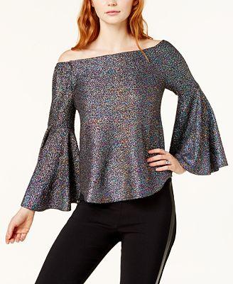 Bar III Bell-Sleeve Glitter Top, Created for Macy's