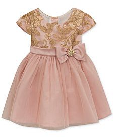 Rare Editions Embroidered Sequin Dress, Baby Girls
