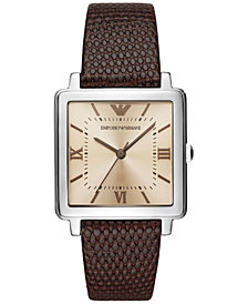 Emporio Armani Women's Brown Leather Strap Watch 30mm