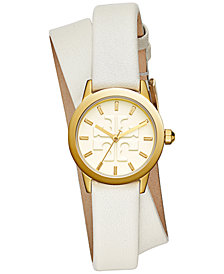 Tory Burch Women's Gigi Ivory Leather Wrap Strap Watch 28mm