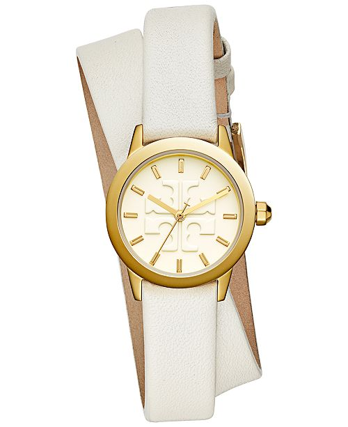 a5b9880b2bcde7 Tory Burch Women s Gigi Ivory Leather Wrap Strap Watch 28mm ...