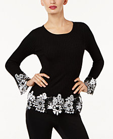 I.N.C. Ribbed Crochet-Lace Sweater, Created for Macy's
