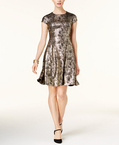 Alfani Metallic Fit & Flare Dress, Created for Macy's