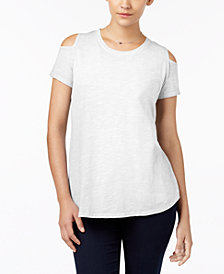 Style & Co Cotton Cold-Shoulder T-Shirt, Created for Macy's