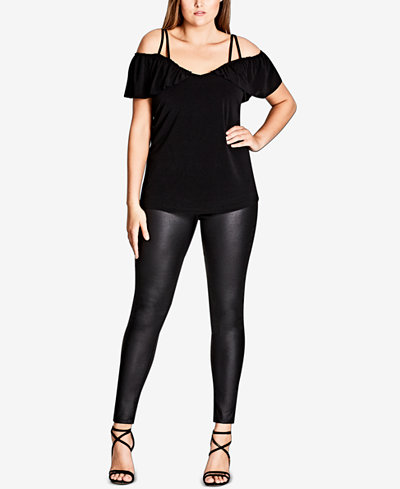 City Chic Trendy Plus Size Off-The-Shoulder Frill Top