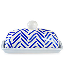 Coton Colors Indigo Herringbone Domed Butter Dish