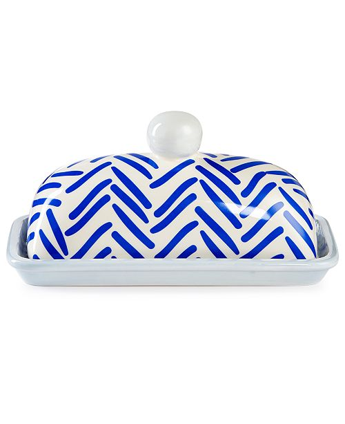 Coton Colors Indigo Herringbone Domed Butter Dish