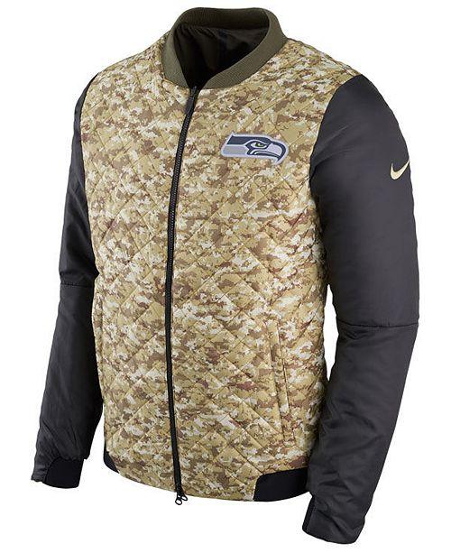 timeless design 8e5de 9c4cc Nike Men's Seattle Seahawks Salute To Service Bomber Jacket ...