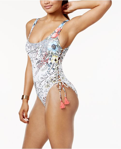 a96b357e036 ... Vince Camuto Wildflower-Print Lace-Up One-Piece High-Leg Swimsuit ...