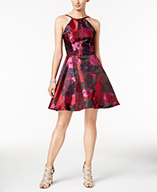 Xscape Floral Brocade Fit & Flare Dress