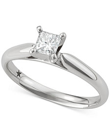 Macy's Star Signature Diamond™ Princess Solitaire Engagement Ring (1/2 ct. t.w.) in 14k White Gold