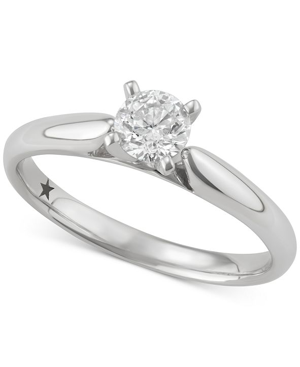 Macy's Star Signature Diamond Solitaire Engagement Ring (1/2 ct. t.w.) in 14k Gold or White Gold