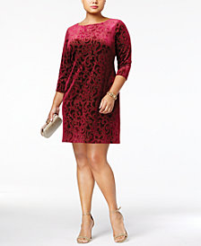 Jessica Howard Plus Size Burnout Velvet Shift Dress