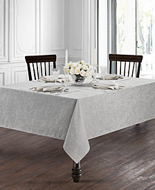 "Waterford Peony Platinum 90"" Tablecloth"