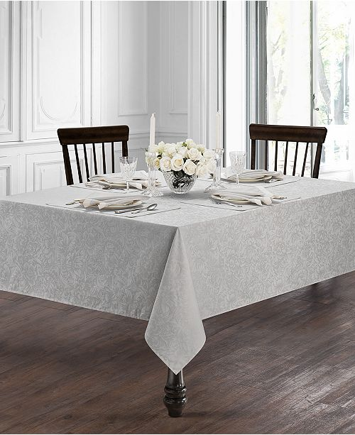 """Waterford Peony Platinum 70"""" x 144"""" Tablecloth"""