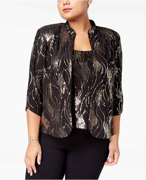 a06051183a8 Alex Evenings Plus Size Sequined Jacket   Shell   Reviews - Tops ...