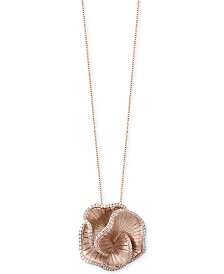 Pavé Rose by EFFY® Diamond Flower Pendant Necklace (7/8 ct. t.w.) in 14k Rose Gold