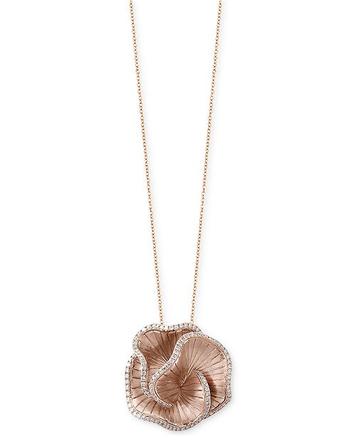 EFFY Collection Pavé Rose by EFFY® Diamond Flower Pendant Necklace (7/8 ct. t.w.) in 14k Rose Gold