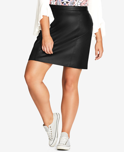 City Chic Trendy Plus Size Faux-Leather Skirt