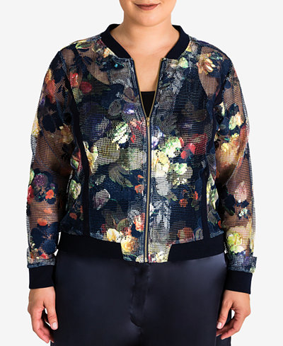 Standards and Practices Trendy Plus Size Sheer Mesh Bomber Jacket