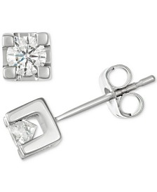 Diamond Square Setting Stud Earrings (1/2 ct. t.w.) in 14k White Gold