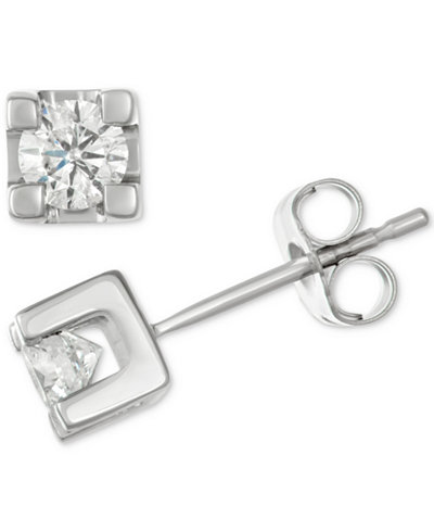Diamond Square Setting Stud Earrings (1/2 ct. t.w.) in 14k White Gold