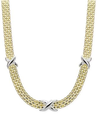 Two-Tone Decorated Bismark Link Necklace in Sterling Silver & Gold-Plate, Created for Macy's