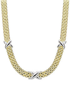 Giani Bernini Two-Tone Decorated Bismark Link Necklace in Sterling Silver & Gold-Plate, Created for Macy's