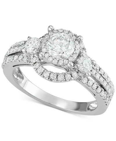 Diamond Ornate Engagement Ring (1-3/8 ct. t.w.) in 14k White Gold