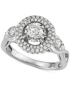 Diamond Halo Ring (1-1/7 ct. t.w.) in 14k White Gold