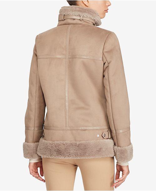 Lauren Ralph Lauren Faux-Shearling Moto Jacket & Reviews ...