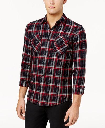 American Rag Men's Ayden Geometric Plaid Shirt, Created for Macy's