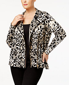 Belldini Plus Size Animal-Print Moto Jacket
