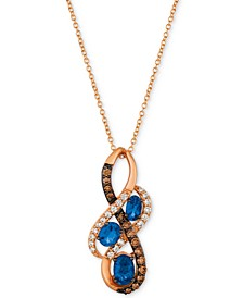 Chocolatier® Blueberry Sapphire™ (5/8 ct. t.w.) & Diamond (1/4 ct. t.w) Pendant Necklace in 14k Rose Gold