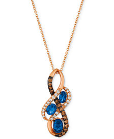 Le Vian Chocolatier® Blueberry Sapphire™ (5/8 ct. t.w.) & Diamond (1/4 ct. t.w) Pendant Necklace in 14k Rose Gold